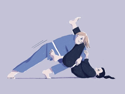 Ju jitsu 2 procreate ipad strong woman woman portrait drawing illustration combat ju jitsu character design character
