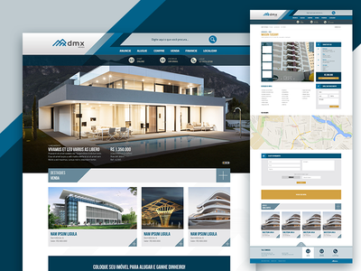 Home page for a Real Estate - Find houses for rent or sale. product page imobiliaria cards landing page real estate