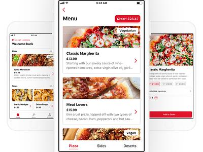 Pizza Pizza Pizza 🍕 ios11 ios pizza food cards clean app ux ui