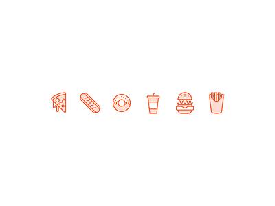 Junk Food Icons 🙌 junk fries burger drink donut hotdog pizza food icons
