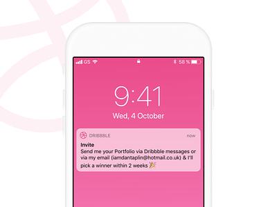 x2 Dribbble invites invite widget app clean apple ios ux ui