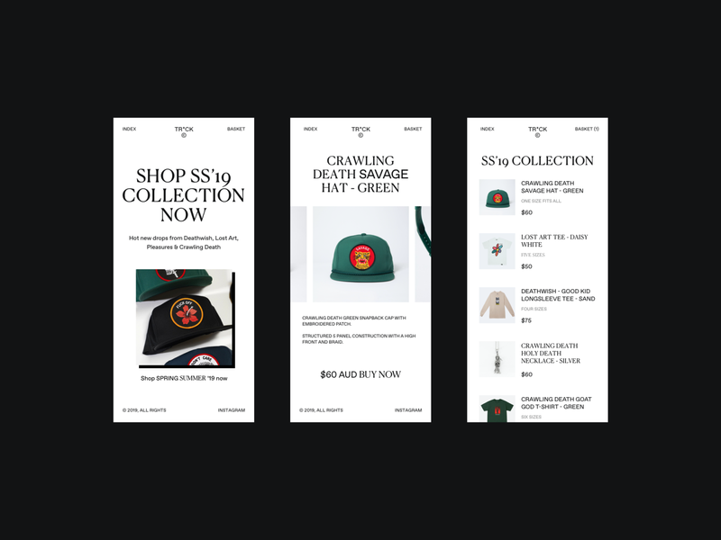 Skate Store Vibes 🙌 mobile typography skating product ecommerce shop web design skate merch website store flat web clean ux ui