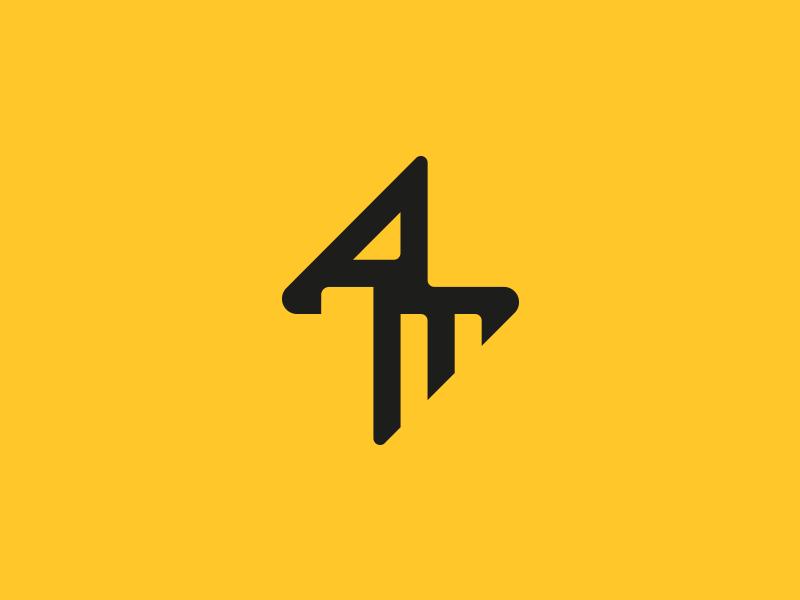 AM - Personal Branding monogram thunder lightening identity branding mark brand logo m a