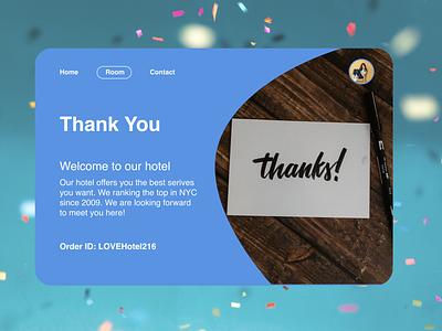 DailyUI 077 - Thank You hotel app webdesign thank you thankyou daily 100 challenge dailyui dailyui077