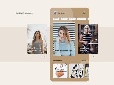 DailyUI085 - Pagination mobile design dailyuichallenge shopping fashion app pagination clothes fashion mobile app daily 100 challenge dailyui dailyui85 dailyui085