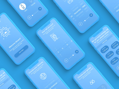 Question Answer App trend 2020 new style flow onboarding ui welcome screen digital iphone ux uiux ui design monochromatic blue quiz app answer questions questionnaire