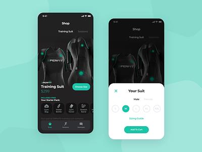 Mobile App - Shop Fitness Training Suit ux ui mobile minimal flat clean app