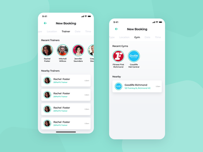 Mobile app - Selecting your trainer 💪 checkout booking workout fitness ios design ux ui mobile minimal flat clean app