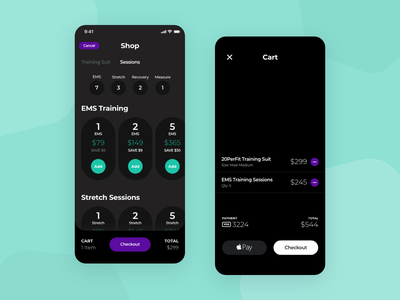 20PerFit - Sessions and Cart amoled oled cart payment packages workout ios fitness checkout booking ui ux mobile minimal clean app