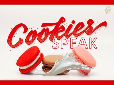 Cookies SPEAK logodesigner logotype milk macaroon font logos cake cookies branding logodesign logo typeface