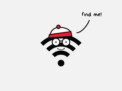 Where's Wi-Fi? wireless free find icon waldo wally cartoon concept wifi
