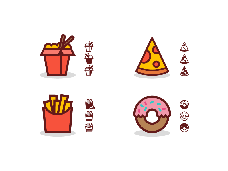 Fast Food Icons 🍜🍕🍟🍩