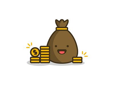 Money Bag Illustration 💰💰💰 money type web ux branding app vector line flat design logo illustration