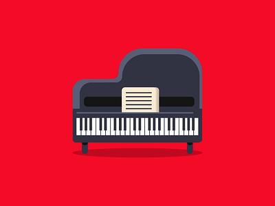 Piano Illustration minimal simple red piano music branding flat vector illustration design
