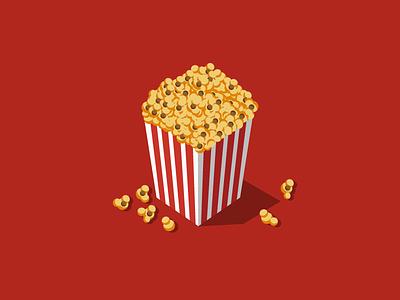 Caramel Popcorn FTW logo graphic food web branding app icon vector flat illustration design