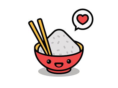 Rice to meet you! kawaii love heart chopsticks rice chinese japanese graphic logo food branding app icon vector flat illustration design