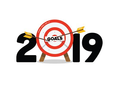 Happy new year! nye hny resolution vector target arrows goal year new happy 2019 branding typogaphy flat illustration design