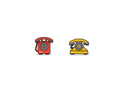 Hello? HELLO? yellow red icon retro phone vector flat illustration design