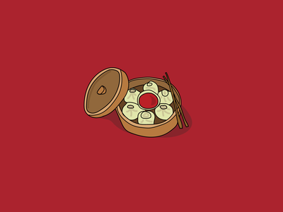 Chicken Dumplings 🥟 vector tasty momos momo illustration hand drawn hand food flat dumpling dimsum design chicken branding