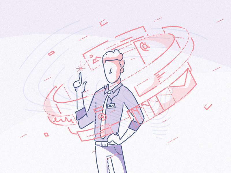 Digital selection flow brand pharma finance technology minimal character colour and lines thumbprint illustration ui