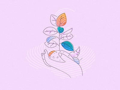 Nurture and sustain icons fresh floral colour and lines james oconnell minimal brand grow flower thumbprint illustration