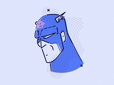 Cap colour and lines jamesp0p james oconnell sad thumbprint minimal lines superhero anarchy illustration