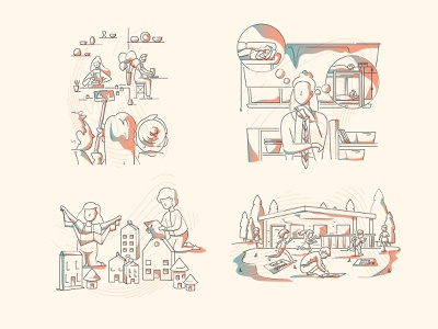 Learning methods james oconnell lines minimal thumbprint colour and lines illustration characters school platform children scouts learning