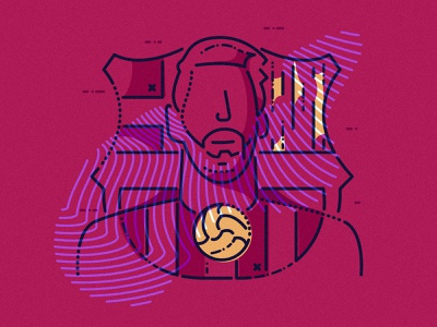 Messi the master minimal character lines colour and lines thumbprint bust barcelona illustration football messi