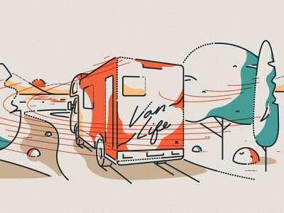 Van life vehicle drive minimal colour and lines travel motorhome van boundless illustration