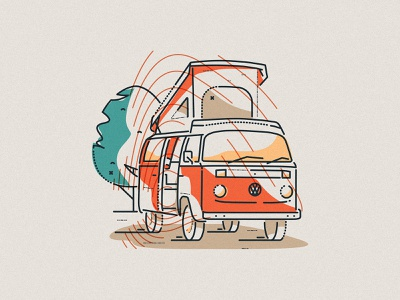 VW Camper minimal boundless lines james oconnell colour and lines thumbprint illustration motor home rv camper van vehicle volkswagen