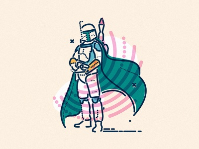 Bobbing about minimal icons james oconnell colour and lines thumbprint illustration character bobafett star wars mandalorian
