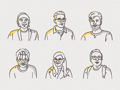SeriesEight portraits james oconnell colourandlines employee team brand minimal colour and lines icon illustration portrait