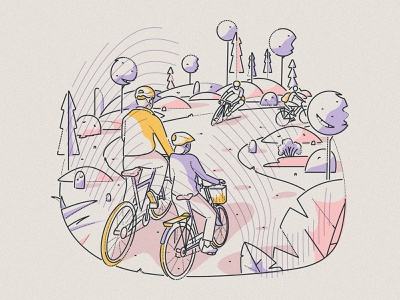 Rolling hills james oconnell manchester editorial minimal lines hills landscape riding cycling character illustration boundless