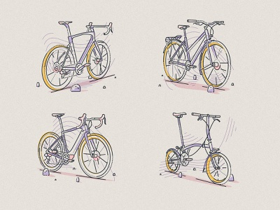 Choose your ride brompton explore freedom boundless thumbprint lines colour and lines illustration pedal cycling wheels ride bicycle