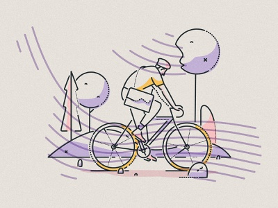 En route colour and lines james oconnell editorial minimal bag landscape bicycle cycling riding character thumbprint illustration