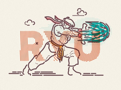 Hadouken thumbprint nintendo arcade game illustration fight ryu streetfighter street fighter