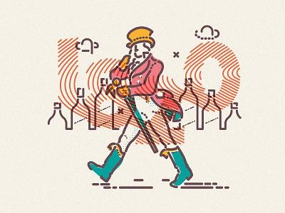 J Walker walking jamesp0p james oconnell thumbprint minimal lines illustration alcohol drink whisky