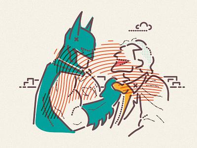 Batman and Joker character minimal jamesp0p james oconnell thumbprint gotham villain superhero good evil joker batman