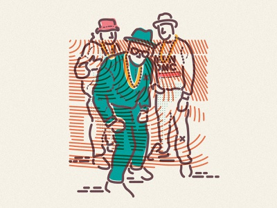 Run DMC colour and lines minimal james oconnell jamesp0p thumbprint illustration 80s hiphop music run dmc