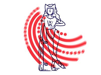Wanda Maximoff comic minimal marvel illustration james oconnell jamesp0p thumbprint skate scarlet witch maximoff wanda wandavision