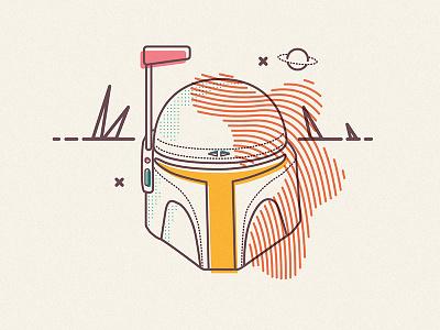 Proper Fett icons line colour overprint star wars boba fett mask helmet sci-fi force illustration