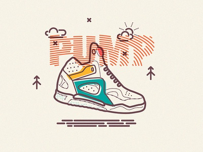 Inflation icons line colour overprint reebok pump sneaker trainer illustration basketball
