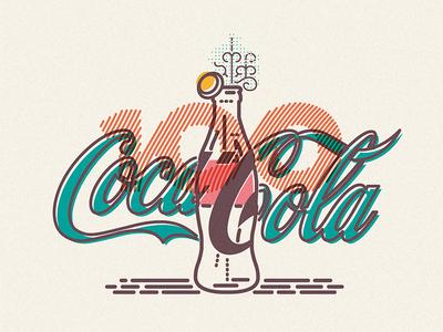 Coca-Cola illustration icon lines drink coca cola bottle fizz top