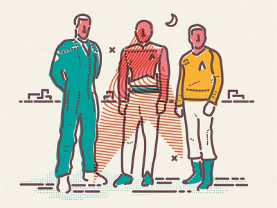 Star Trekking illustration icon picard kirk hero archer lines enterprise star trek space sci-fi