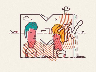 Great Cornholio illustration icon lines beavis butthead mtv cornholio