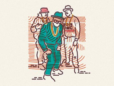 Walk this way music hiphop dmc run lines colour icon illustration