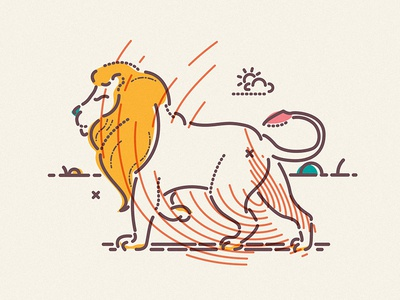 Cannes Lion character animal icon illustration creative colour and lines lines colour lion cannes