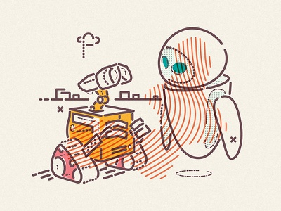 Walllllll • E character film colour lines animation eve wall-e pixar icon illustration
