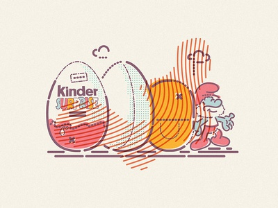 Kinder egg cloud thumbprint colour lines character chocolate icon illustration