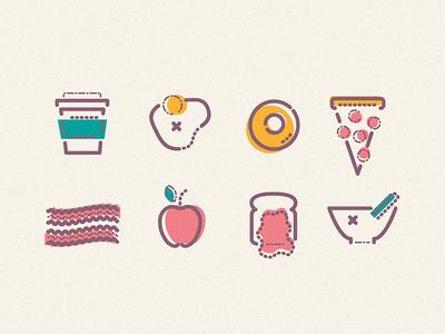 Breakfast food apple egg pizza jam starbucks bacon breakfast lines colour icon illustration